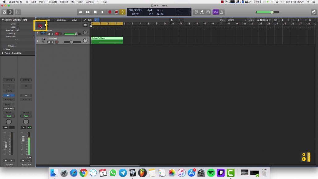 Inserire traccia audio Logic Pro